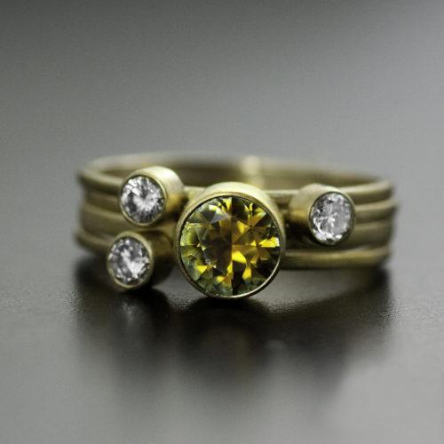 bi color montana sapphire custom ring