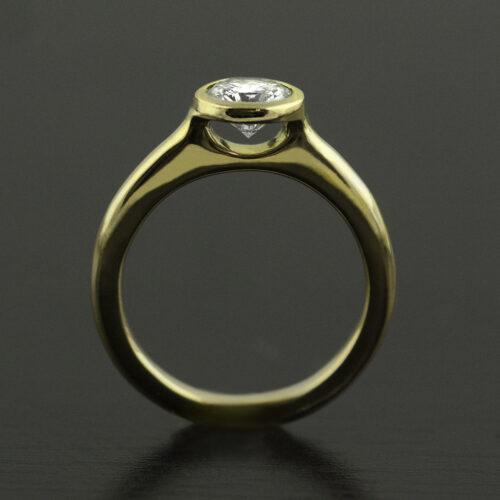 custom floating diamond ring bezel set 18k gold