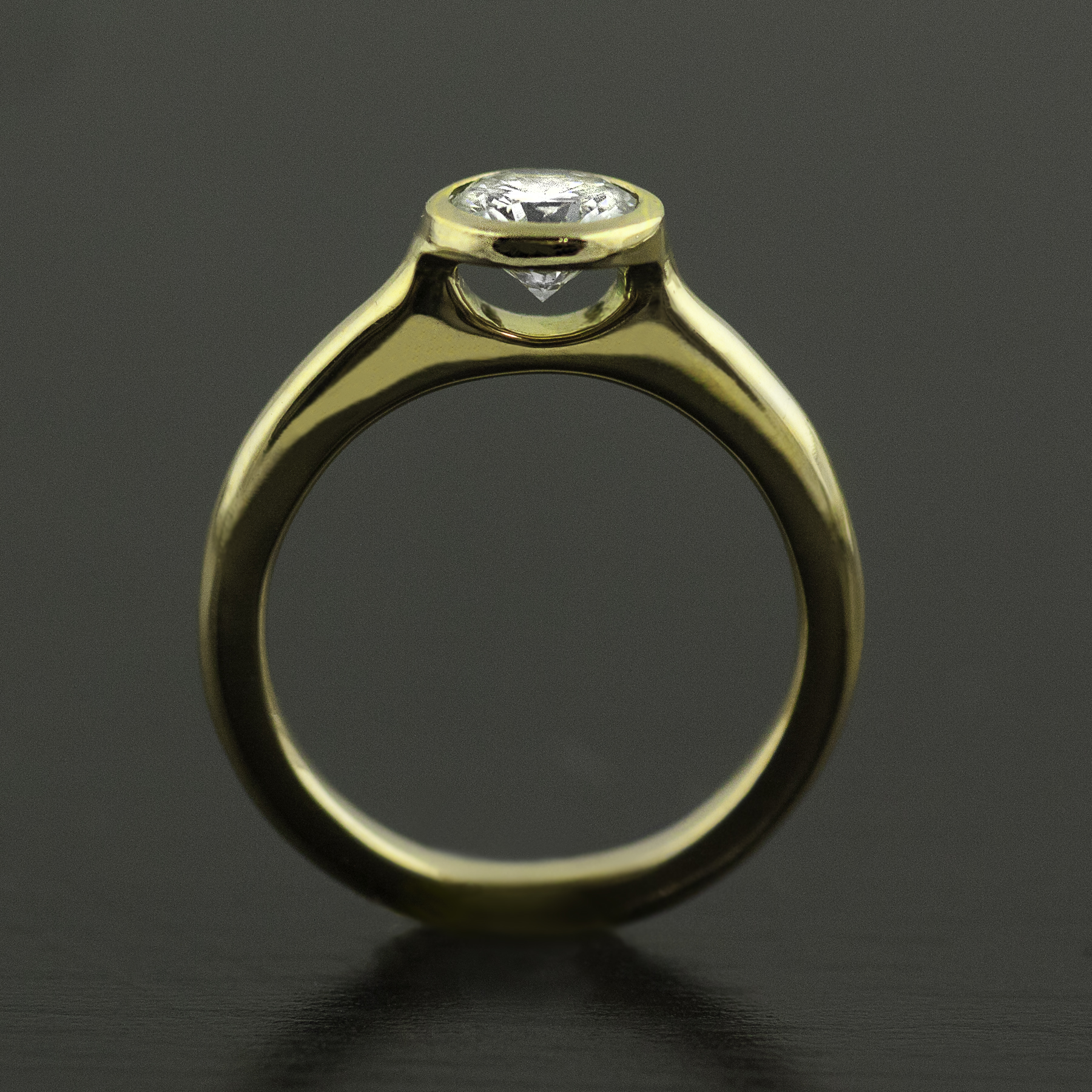 custom floating diamond ring bezel set 18k gold