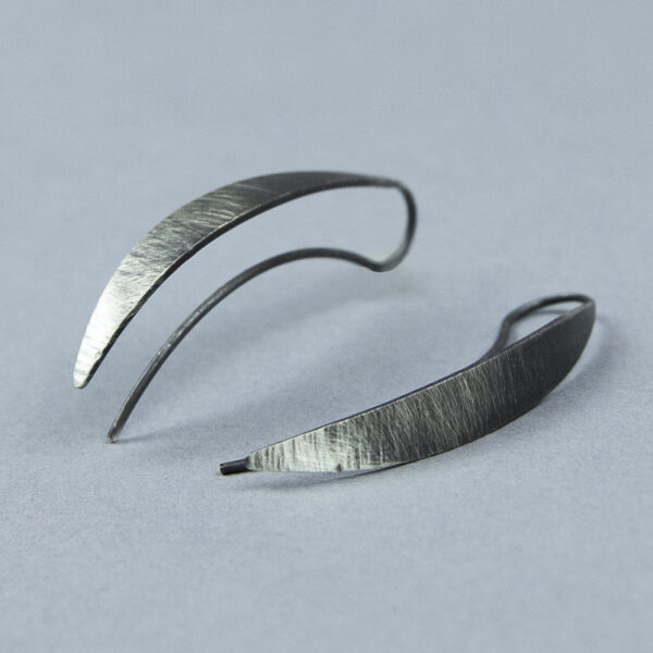 long unique silver earrings oxidized
