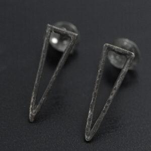 silver geometric earrings oxidized
